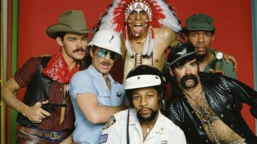 The original Village People (L-R) Randy Jones (the cowboy); David Hodo (the construction worker); Felipe Rose (the American Indian); Victor Willis (the cop); Glenn Hughes (the leatherman) and Alexander Briley (the G.I.)
