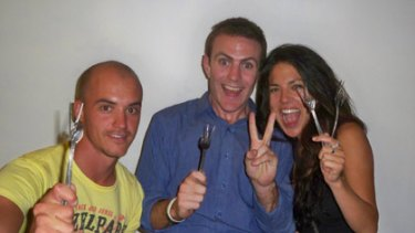 They give a fork... Kinfolk Cafe co-founders Jarrod Biffra (left), Elliot Costello (centre) and Asuka Hara (right).