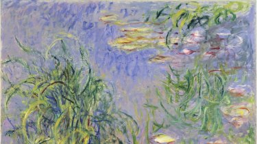 Claude Monet paintings from his <i>Water Lilies</i> series 1914-19 at Naoshima an island on the Seto Inland Sea, Japan.