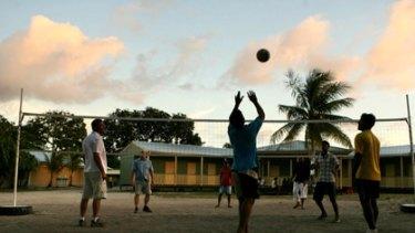 Political football ... Sri Lankan asylum seekers on Nauru in 2007.