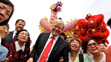 Declined ... Kevin Rudd chose not to appear at an event in Darling Harbour. Above, Mr Rudd surrounded by members of the Chinese community last week.