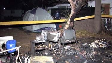 The blast scene shows the extent of the fierce explosion that ripped apart the family tent.