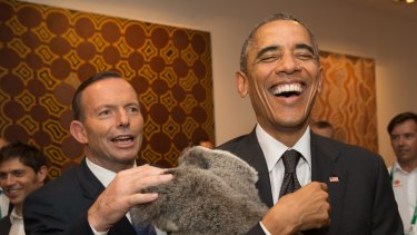 US President Barack Obama laughs as holds a koala while Tony Abbott looks on during a photo opportunity on the sidelines of the G-20 summit in Brisbane in November.