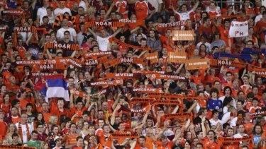 Brisbane Roar fans show their colours during their championship run in 2011.