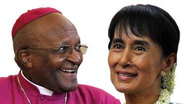 Nobel Prize winners Desmond Tutu and Aung San Suu Kyi.