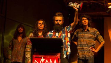 The Medics accept their award for song of the year at the 2012 National Indidgenous Music Awards held at Darwin's Garden's Ampitheatre.