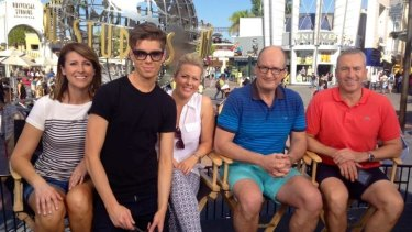 The <i>Sunrise</i> cast with executive producer Michael Pell at Universal Studios in August last year.