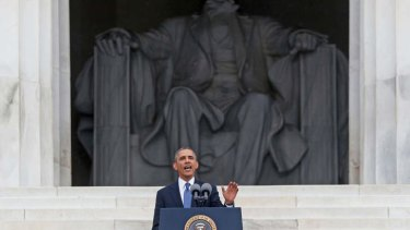 President Barack Obama speaks at the 50th Anniversary of the March on Washington where Martin Luther King Jr. spoke, at the Lincoln Memorial in Washington.