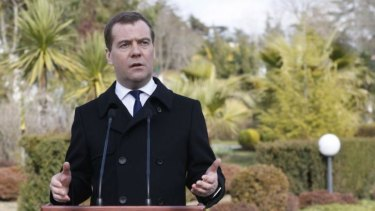"""Russian Prime Minister Dmitry Medvedev:   """"There are big doubts about the legitimacy of a whole series of organs of power that are now functioning there."""""""