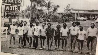 Crossed the Pacific: The 12 men pictured in Ballina after their expedition.