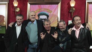 Planning a reunion ... The remaining original cast of the Monty Python troupe - from left,  Michael Palin, John Cleese, Terry Jones, Terry Gilliam and Eric Idle - in New York in 2009.