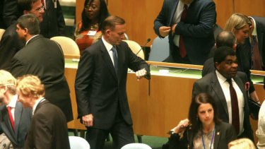 Prime Minister Tony Abbott arrives for the opening of the United Nations General Assembly. Photo: Alex Ellinghausen