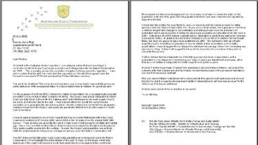 The letter sent to Premier Anna Bligh.