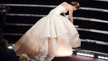 Stair stack ... Jennifer Lawrence takes a fall while on her way to collecting the Oscar for Best Actress.