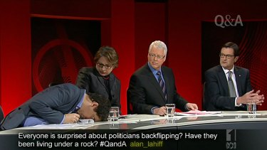 Simon Sheikh collapses on to the <i>Q&A</i> desk as Sophie Mirabella watches.