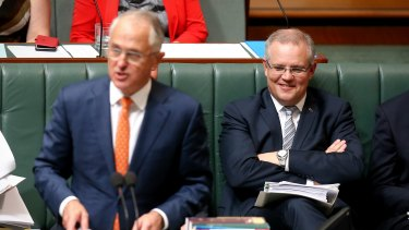 Prime Minister Malcolm Turnbull and Treasurer Scott Morrison during question time on Monday.