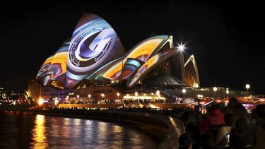 Alight with colour: Light installations at the Sydney Opera House.