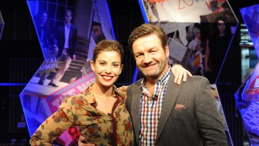 Brooke Satchwell and Lawrence Mooney in <i>Dirty Laundry Live</i> on ABC TV.