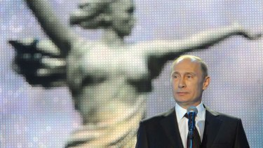 Russian President Vladimir Putin speaks at a ceremony marking the 70th anniversary of the Stalingrad Battle, in the Russian city of Volgograd, formerly Stalingrad, on February 2 last year.