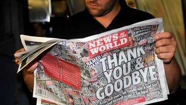 The final edition of <I>News of the World</i>, which has apologised for the scandal.