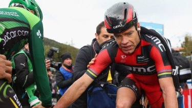 Scary ride: Cadel Evans at the finish line of the difficult 16th stage of this year's Giro d'Italia.