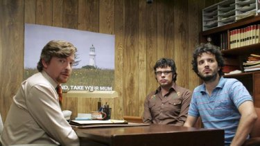 Rhys Darby, Bret McKenzie and Jemaine Clement in a scene from the <i>Flight of the Conchords</i> TV series.