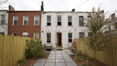 The backyard of a building being renovated for rental in the Brooklyn borough of New York.