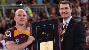 Legend ... Darren Lockyer is given the key to the city of Brisbane.
