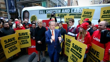 Opposition Leader Bill Shorten and Deputy Opposition Leader Tanya Plibersek during a Medicare rally in Sydney before the election.