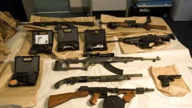 The  automatic pistols, Thompson sub-machine-gun,  Kalashnikov machine-gun,  automatic shotgun and three assault rifles with scopes police said they found