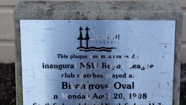 Historic … a plaque marking the 1908 match.