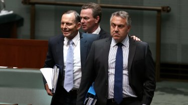 Budget warning: Tony Abbott, Christopher Pyne and Joe Hockey arrive at question time on Wednesday.