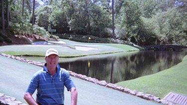 Pinch me: The Age's Martin Blake poses for a photo beside Augusta's famous Rae's Creek.