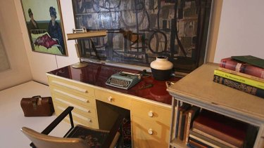 Writers' block … White's desk is part of a State Library exhibition.