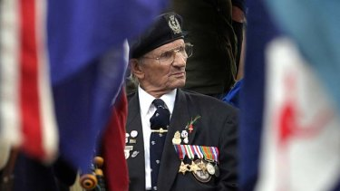Revered nationally ... a digger participating at an Anzac Day ceremony.