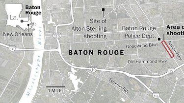 The site of recent shootings in Baton Rouge.