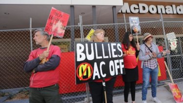 Protesters outside Tecoma McDonald's.