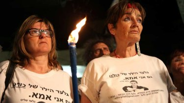 Vigil ... supporters rally outside the Israeli PM's residence in Jerusalem, calling for Gilad Shalit's release.