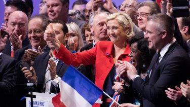 Marine Le Pen, France's presidential candidate and leader of the French National Front, gives a thumbs up during an election campaign meeting in Lille, France in March.