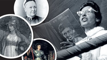 Clockwise from main: Oodegroo Noonuccal reading poetry; Joan of Arc; Boadicea and Catherine Helen Spence have inspired an anthology of short stories.