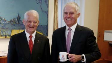 Prime Minister Malcolm Turnbull with Philip Ruddock in Canberra on Monday.