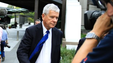 Brisbane Grammar School board of trustees chairman Howard Stack leaves the Brisbane hearings of the Royal Commission in to Institutional Responses to Child Abuse.