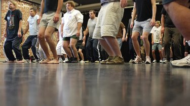 Brisbane men audition for a part in Untrained, a dance production bound for the Judith Wright Centre that stars two professional dancers alongside two amateur dancers.