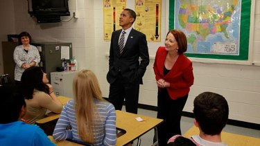 Prime Minister Julia Gillard spotted a photo of President Obama when she and Mr Obama took questions from students at Wakefield High School.