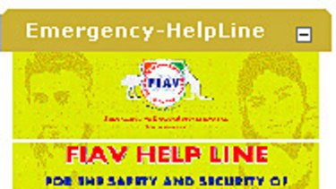 The link for the emergency helpline for Indian students as it appears on the FIAV website.