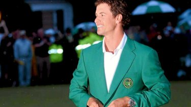 How green is my jacket: Adam Scott is Australia's first winner of the US Masters.