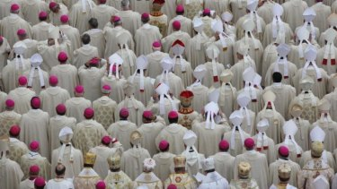 Bishops attend the canonisation mass in Vatican City.