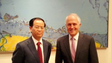 Cheng Jingye, China's new ambassador to Australia,with Prime Minister Malcolm Turnbull in August.