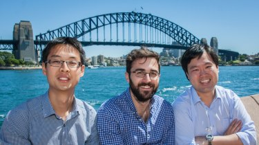 The SwatchMate founders Djordje Dikic, Paul Peng and Rocky Liang on a visit to Sydney.