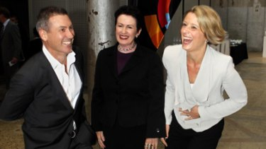 Singing its praises... Peter Holmes a Court, the Sydney Lord Mayor, Clover Moore and the Premier, Kristina Keneally.
